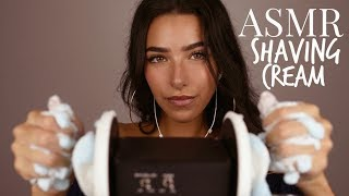 ASMR Shaving Foam in Your Ears (Crackling sounds, foam sounds, whispering, lotion sounds)