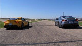 Drag Race! Toyota Supra 2.0 vs 3.0 (4 cylinder vs 6 cylinder)