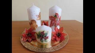 Vianočné Sviečky Zdobené Technikou Decoupage. Decoupage Christmas Candles  DIY