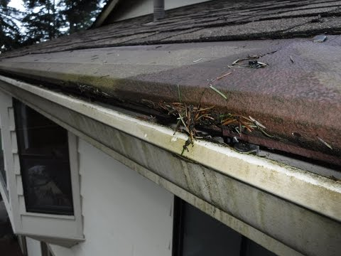 Gutter Helmet aka Harry Helmet aka Gutter Topper installs between the 1st and 2nd course of shingles, causing a