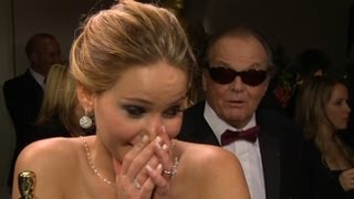 Jennifer Lawrence Interrupted by Jack Nicholson at Oscars | Good Morning America | ABC News | Kholo.pk