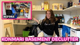 Clean, Organize & Declutter With Me - Basement Pantry Before & After || Konmari Method