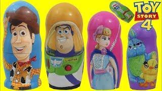 Disney Pixar TOY STORY 4 Nesting Matryoshka Dolls with Bo Peep, Buzz Lightyear & Woody