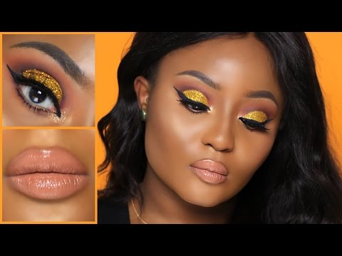 Gold Glitter Cut Crease + Nude Lip Makeup Tutorial | Youkeyy