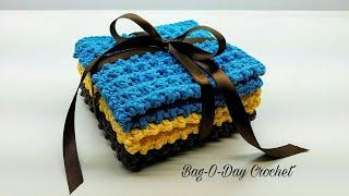 Easy To Crochet Washcloth Set | Cobblestone Dish Rag Gift Set | Bag O Day Crochet Tutorial #425