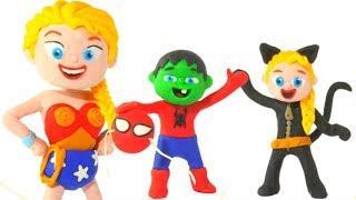 SUPERHERO BABIES WEARING FUNNY COSTUMES ❤ SUPERHERO PLAY DOH CARTOONS FOR KIDS