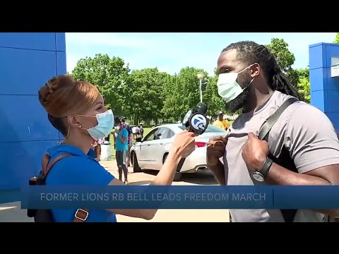 Former Lions RB leads freedom march on Belle Isle