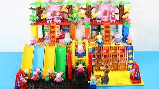 Peppa Pig Blocks Mega House With Water Slide Toys For Kids - Lego Duplo House Building Toys #3