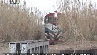 preview picture of video 'Tren granero de NCA cruzando el puente sobre el Arroyo de Tegua'