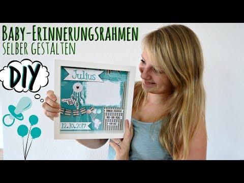 Baby-Rahmen basteln   Shadowbox DIY   Erinnerungsrahmen Geschenk zur Geburt / Taufe