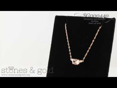 Morganite & Diamond Solid 14K Gold Necklace | SG000440