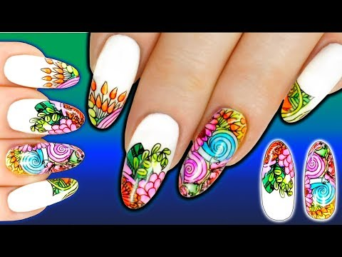 SHARPIE STAMPING NAIL ART - Hand Painted Alcohol Inks Stained Glass Lead Light Effect Nails