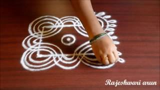 simple padi kolam with 3 dots || easy rangoli designs || geetala muggulu with dots