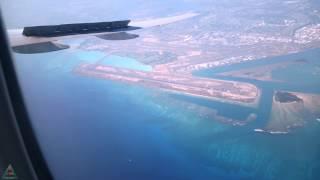 Landing in Honolulu (HNL) Hawaii and Flying Over Oahu Island on Boeing 777, UHD 4K