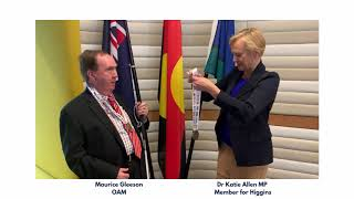 image of podcast BSRV President, Maurice Gleeson OAM receives Aspire Award medals
