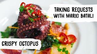 Mario Batali Cooks Crispy Octopus with Cavolo Nero + Hazelnuts