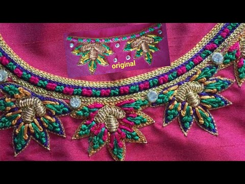 Blouse Design With French Knots | Aari Maggam Works |#9
