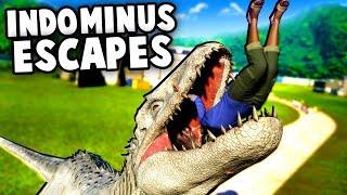 Indominus Rex ESCAPES!  Dinosaurs Break Out!  (Jurassic World Evolution T Rex vs Indominus Rex)