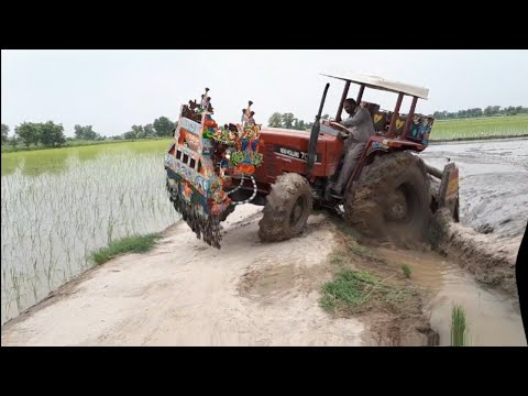 New Holland 7056 4WD Stuck in Mud , NH 7056 Working with Rotavator Preparing the Rice Fields