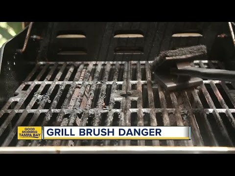 Metal bristle from grill brush punctures woman's tongue