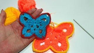Смотреть онлайн Учимся вязать бабочку крючком