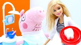 Видео с игрушками для детей — про Пеппу и папу Свина у стоматолога