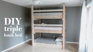 DIY Minimalist Triple Bunk Bed / Less Than $200