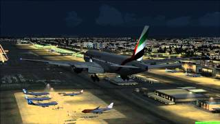 Emirates 777-200LR Night Landing in Dubai (FSX HD)