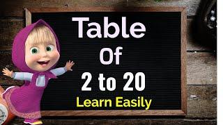 Learn Multiplication Table of 2 to 20, Table 2 to 20, 2 se 20 ka pahada, Table learning, Maths table