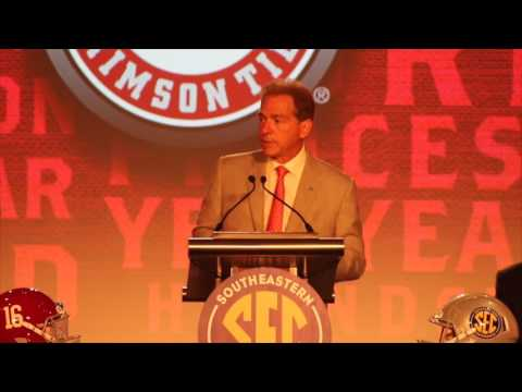 Nick Saban speaks at SEC Media Days 2016