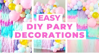 DIY Party Decorations. How To Make A Balloon Garland, Fringe Wall, & Tulle Table Skirt.