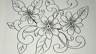 Gambar Sketsa Batik Bunga Mawar Tulisanviralinfo