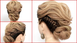Easy Updo Hairstyles || Low Twisted Bun With Fishtail Braids For Long Hair || Hair Style Girl
