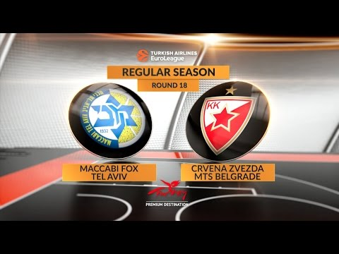 EuroLeague Highlights RS Round 18: Maccabi FOX Tel Aviv 67-71 Crvena Zvezda mts Belgrade