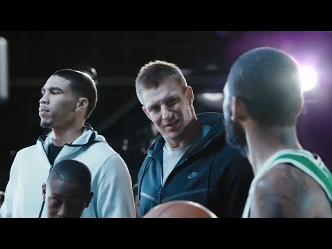 Performing on a Nike commercial with Kyrie Irving, Rob Gronkowski, and Jayson Tatum.