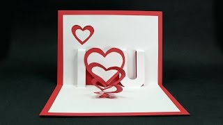 Handmade Valentines Day Card - DIY I Love You Pop Up Heart Love Card Tutorial