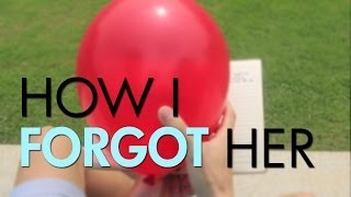 """A red balloon in front of green grass, with the words """"How I Forgot Her"""" overlaid."""