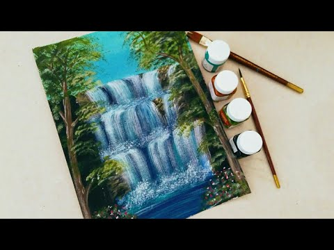 Easy Waterfall Landscape Painting tutorial for beginners    Step by step Waterfall landscape Paintin
