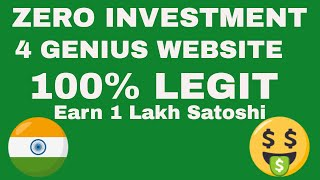 Earn  1Lakh Satoshi Per Day Without Investment | 4 Genius Website btc Earning
