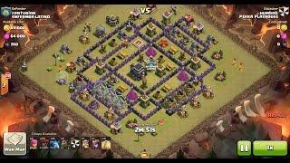 Clash of Clans TH9 vs TH9 Lava Hound, Balloon & Minion (Lavaloonion) Clan War 3 Star Attack
