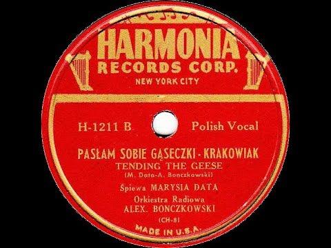 Polish 78rpm recordings, ca 1945. Harmonia H-1211. Za laseczkiem w domeczku / Pasłam sobie gąseczki