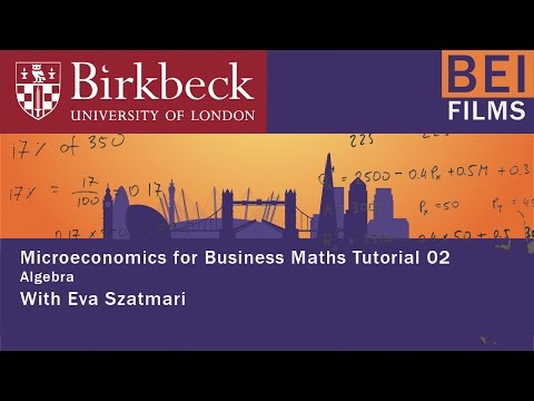 Micro for Business 02 - Algebra
