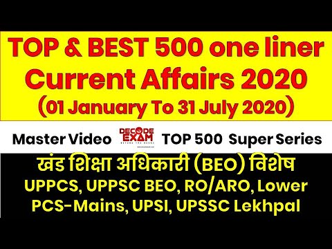 Top and Best 500 One liner Current Affairs Questions for BEO, RO/ARO, UPPCS, Lower PCS, UPSI