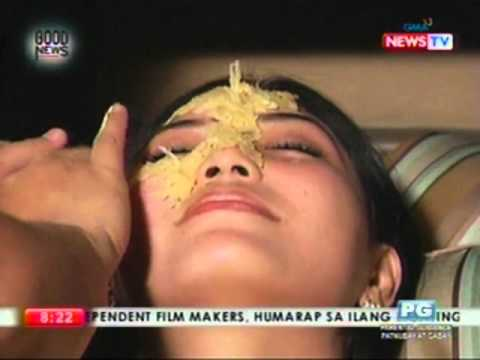 Facial mask na may cream at brandy