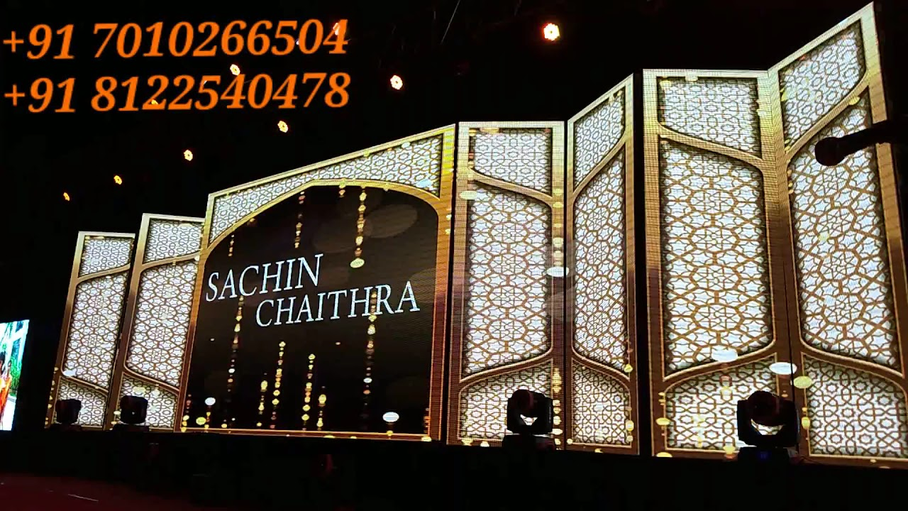 3D LED Video Wall Screen Digital Wedding Marriage Reception Event Stage Decoration India 81225 40589