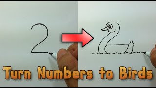 Very Easy ! How to turn Numbers 1-5 into the cartoon birds  step by step - art game on paper for kid