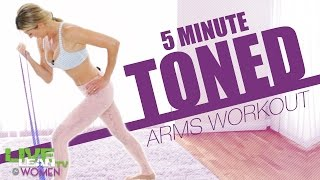 5 Min Toned Arms Stretch Band Workout by Live Lean TV