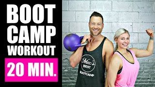 20 MINUTE BOOTCAMP WORKOUT WITH KETTLEBELL, CARDIO, ABS | Fat Burning Boot Camp Workout Routine 1 by Max's Best Bootcamp