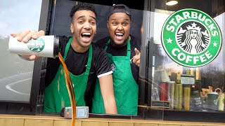 We Pretended To Work At Starbucks Drive Thru (Fake Employee Prank)