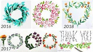 6 Watercolor Wreaths, Leaf Vines, Floral Bough - Compilation